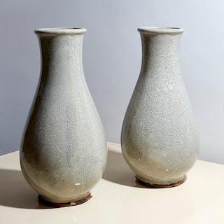 Pair of pale grey Faience crackleware vases | dicksonrendall