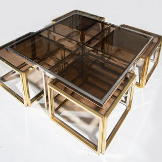 Maison Charles, Paris, Large Brass and Chrome Square Coffee Table