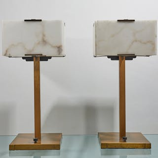Chic pair of lacquered Brass and Alabaster lamps | dicksonrendall