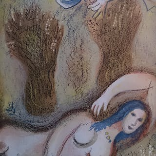 CHAGALL Marc - Boaz wakes up and sees Ruth