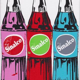 NOVERRAZ Nicolas - 3 bouteilles de Sinalco multicolores 24X18CM
