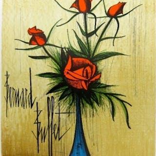 BUFFET Bernard - Roses rouges dans un vase bleu