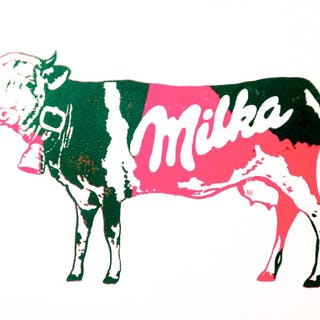 NOVERRAZ Nicolas - Vache Milka verte/rose 24X30CM