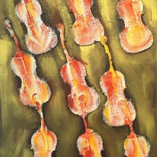 ARMAN Pierre Fernandez - Empreintes de violon orange 151X101