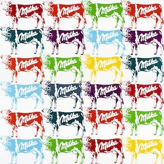 NOVERRAZ Nicolas - 24 vaches Milka multicolores 100X100CM