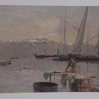 BOCION François - Lavandière devant le port d'Ouchy