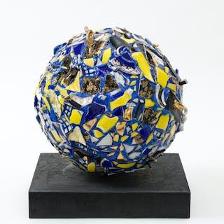 Balancing Act -Yves Klein Blue Sphere