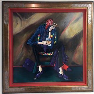 Homme d'affaire au cigare assis