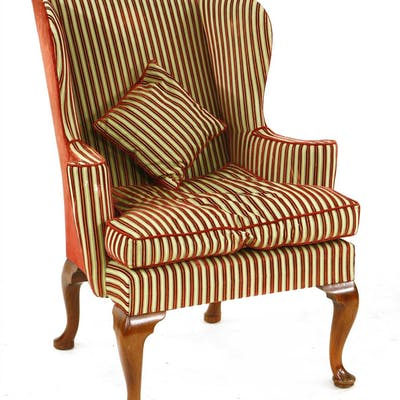 A George III-style wing back armchair