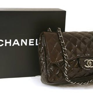 3d62d0035809 A Chanel classic brown patent quilted leather flap handbag