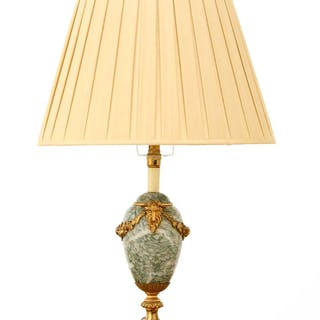 A French green-veined marble table lamp