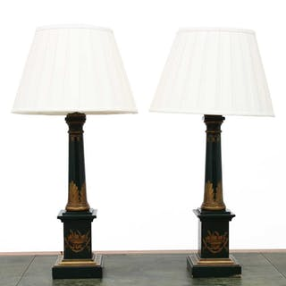 A pair of modern wooden table lamps