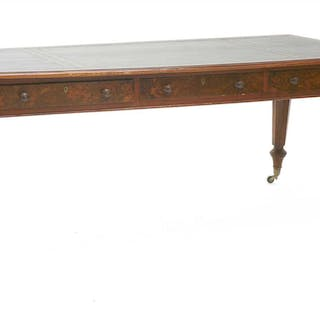 A Victorian burr walnut and oak library table