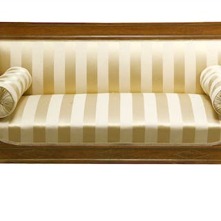 A French strung walnut settee