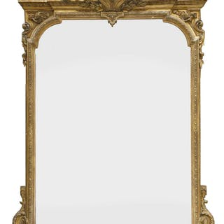 A large Victorian gilt gesso overmantel mirror