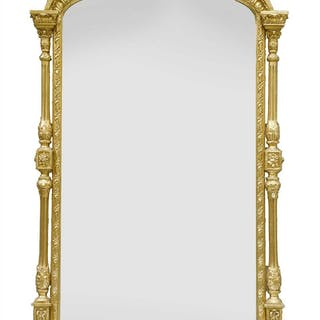 An ornate Victorian giltwood and gesso overmantel mirror