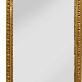 A mahogany giltwood overmantel mirror