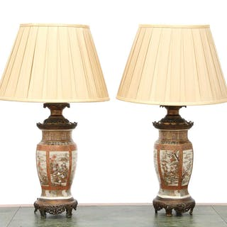 A pair of Japanese Satsuma table lamps