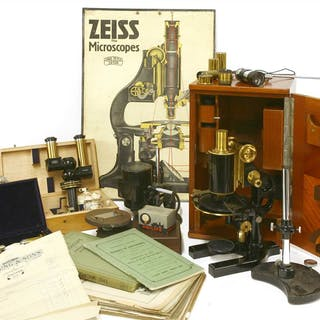 A cased brass and lacquered 'Jena' microscope