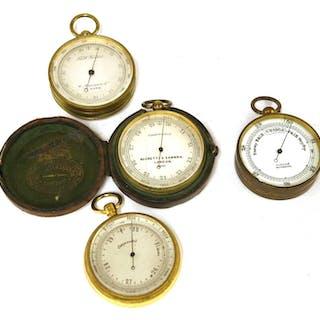 Four brass-cased pocket barometers
