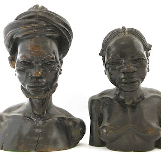 An African carved hardwood bust of a man