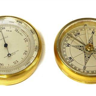 A brass-cased combination pocket barometer