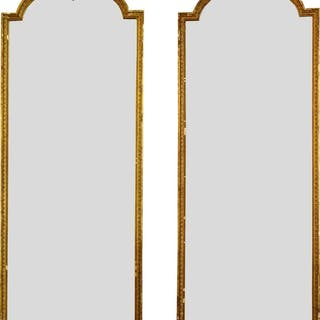 A pair of gilt gesso pier mirrors