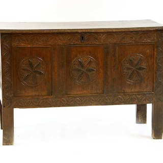 A late 17th century oak panelled coffer