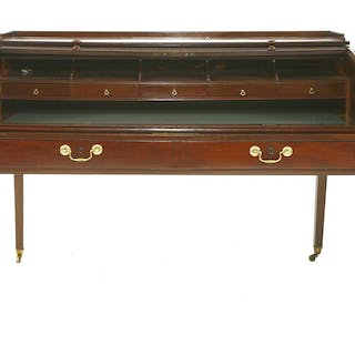 A George III mahogany tambour roll-top desk