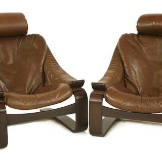 Two Swedish Kroken lounge chairs