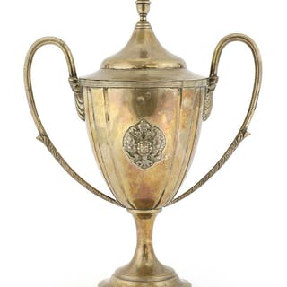 A Russian silver twin-handled lidded urn