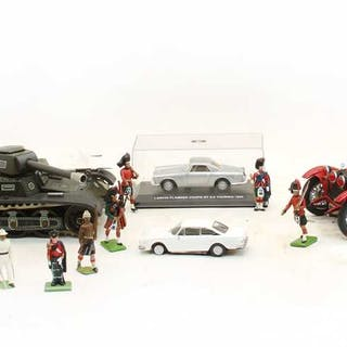 A collection of unboxed Britains toy soldiers