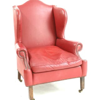 A George III style wing back armchair
