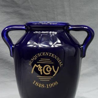 McCoy Cobalt Blue Sesquicentennial 1848-1998 2 Handle Jug