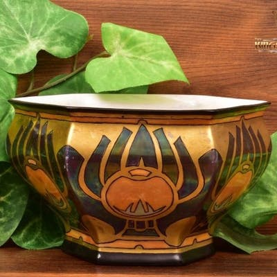 American Satsuma 1926 Art Deco Egyptian Theme Bowl Sweet Goddard Columbus Ohio