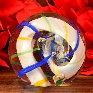 Caithness Scotland Ribbons Art Glass Paperweight