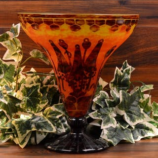 Charles Schneider 1925-27 Le Verre France Art Deco Bell Flower Orange