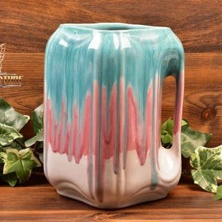 Cliftwood Pottery 1940s Green Pink Drip Over White Square Pitcher