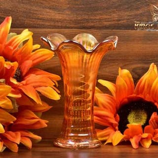 Imperial Glass 1909-1930 Marigold Ripple Carnival Swung Mini Vase