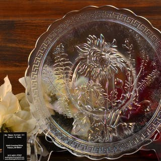 Imperial Glass 1970's White Carnival Chrysanthemum Plate