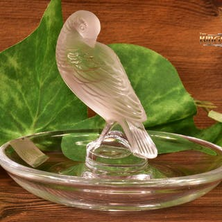 Lalique Crystal pre-1978 Pheasant Tucked Head Ash Pin Tray