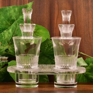 Lalique Crystal 1940s-50s Art Deco Style Bourgueil Oil Vinegar Cruet Set