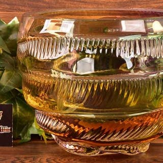 Leon Applebaum 1970s Multi-color Textured Swirl Art Glass Bowl