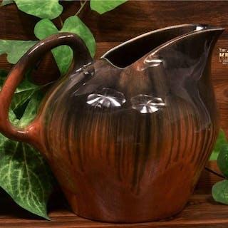Muncie Pottery 1929 Black Peachskin Large Ice Tea Pitcher #467-8
