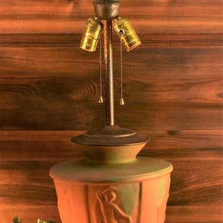 Muncie Pottery 1929 Dancing Nudes Figural Lamp Green Over Pumpkin Haley Design