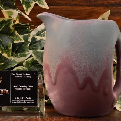 Muncie Pottery 1930 Green over Lilac Pitcher #466-5 2A