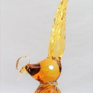 Murano Italy Glass Amber Pheasant Road Runner