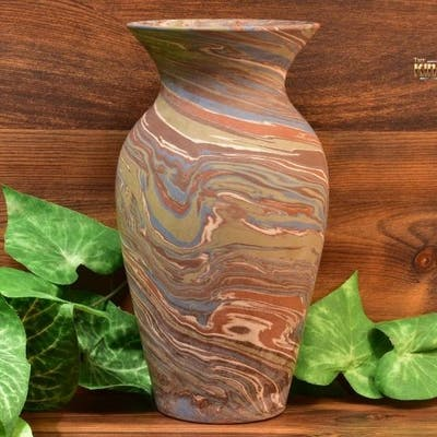 Niloak Pottery 1910-24 Mission Swirl Flared Rim Vase Lamp Base Shape G 8.5 inch