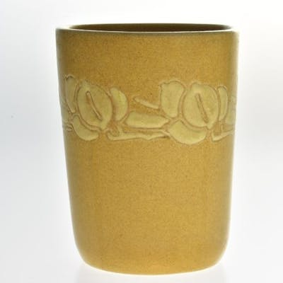 Overbeck Pottery 1911-55 Arts and Crafts Yellow Brown Carved Tumbler
