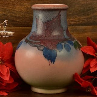 Rookwood Pottery 1926 Decorated Mat Leaf and Berries Porcelain Vase